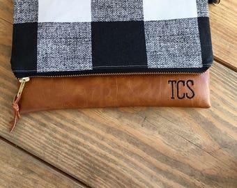 Buffalo Plaid Wristlet Wallet - Monogram Clutch Wallet - Phone Wallet Wristlet - Minimalist Wallet - Travel Wallet - Clutch Wallet