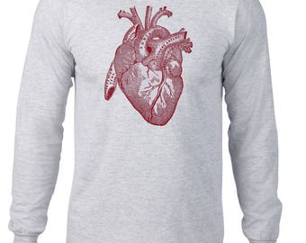 Long Sleeve Shirt, Anatomical Heart Tshirt, Anatomy T Shirt, Horror Tee, Vintage Medical Illustration, Ringspun Cotton, Mens Plus Size
