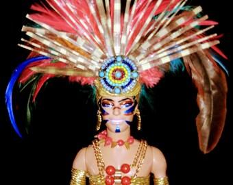 Tlaloc - Aztec Mayan God of Rain & Fertility OOAK Barbie Ken doll Dakotas Song