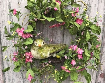 Natural Wreath, Bird wreath, Front door wreath, Summer Wreath, Spring Wreath, Door wreath, summer wreath for front door, bird wreath