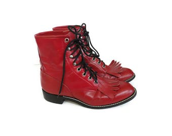 Justin Roper Boots Red Leather Lace Up Combat Western Boot Size 5.5 Country Cowgirl