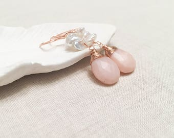 Rose Gold and Pink Opal Long Drops - 14k Rose Gold Fill Wire Wrapped Pale Pink Peruvian Opal and Keshi Pearl Bridal Earrings Blush OOAK