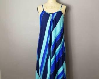 Blue loose sundress / boho 80s strap dress / vintage blue beach dress /  Navy and aqua blue dress / loose fitting summer dress / festival