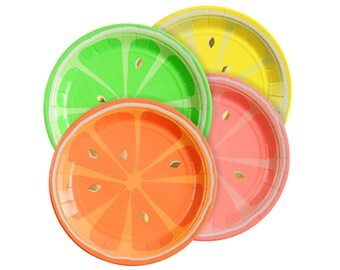 Citrus Paper Plates (Set of 8) - Meri Meri Small Neon Party Plates | Fruit Party