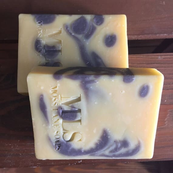 Lavender Citrus Patchouli Essential Oil Scented Cold Process Soap with Shea Butter
