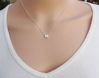 100% Sterling Silver Initial Necklace, Silver initial, Letter Necklace, Silver Necklace, Initial, Name Necklace, Dainty Necklace
