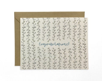 NEW   Illustrated Congratulations Card, Wedding Congrats, Floral Recycled Card
