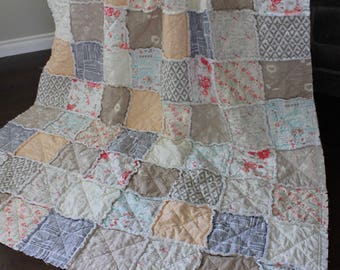 Twin Size Rag Quilt, Shabby Chic, Vinatge Floral, Peach, Grey And Pink, Rose Quilt, Girl Twin Quilt, Girl Rag Quilt, Pink, Ready To Ship
