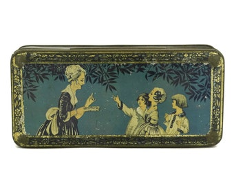 Art Deco Tin Box. French Blue Candy Box with 1920s Lady and Children. Romantic French Antique Caiffa Advertising Box.