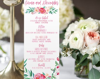 Floral Wedding Menus - Pink Calligraphy Printable or Printed Wedding Menu Cards