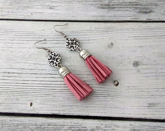 Boho - pink tassel earrings, pink earrings, tassel earrings, tassel jewelry, statement earrings, boho jewelry, summer jewelry, bohemian