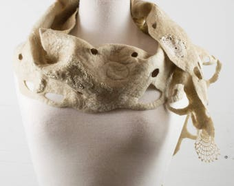 Bronze Felt Scarf | Cashmere | felted scarf | Hand Dyed scarf| Nuno felt scarf| Gift | Felted scarves | Lacy scarf| silk| Unique Style