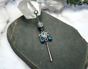 Aqua Teal Drop Navel Ring - Ornate Dangle Belly Body Jewelry OOAK