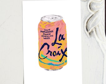 LaCroix Print - La Croix Illustration - Pamplemousse La Croix or Peach Pear LaCroix or Lemon LaCroix