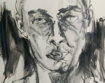 Original Drawing - Male Portrait Drawing - Graphite Drawing - Large Portrait Art - Original Art - Minimal - Modern Portrait - Large Drawing