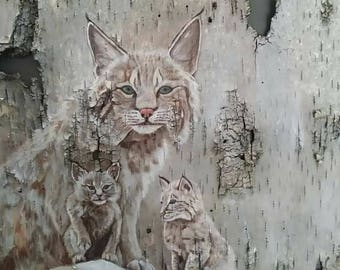 Original Acrylic Bobcat Painting on Birch Bark
