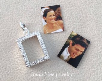 Sterling Silver Picture Frame Charm or Pendant Holds 2 Pictures   --Ready to Ship--