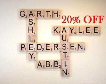 "Large Scrabble Tiles - 3.5"" Large Scrabble Letters  - Scrabble Wall Art - Personalized Wood Scrabble Letters - Giant Scrabble Letters - LST"