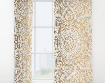 Gold Mandala Pattern Window Curtains, Bohemian Curtains, Gold Window Curtains, Mandala Window Curtains, Gold Mandala Curtains, Boho Wondow