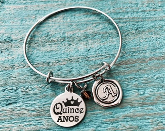 Quinceañera Bracelet, Quinceañera Gift, Quince Anos, fiesta de quince años, quince, Silver Bracelet, Charm Bracelet, 15th Birthday, Gifts,