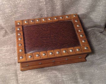 Studded Wood Jewelry, Trinket Box - Faux Leather Lid - Studded Trim on Lid & Sides - Medieval, Pirate Treasure Chest - Gift for Him or Her