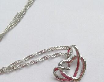 Minimalist Pendant Double Hearts Necklace