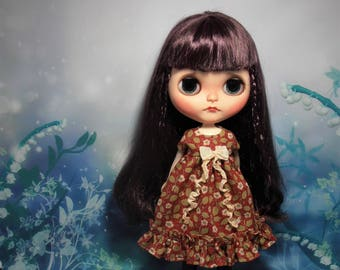 Blythe Dress ~ William Morris Flower Vine Red Empire Ruffles & Shabby Bow ~ Blythe Doll Clothes Outfit Pure Neemo S Licca Pullip
