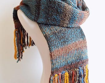 Double Knit Scarf with Fringe - Blue Tan & Rust Winter Scarf - Warm Wool Blend Women's Scarf - Men's Scarf - Knitted Multicolor Scarf