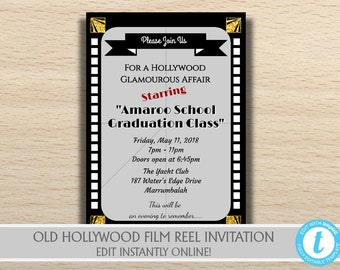 Printable Old Hollywood Birthday, Movie Party Invitation, Old Hollywood Party Decorations, Hollywood Graduation invitation, Hollywood Decor