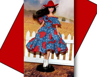 Western Square Dance Dress, Slip, and Red Cowboy Hat. 1:6 Scale Fashion Doll Clothes. (Barbie Doll and Shoes are not included)