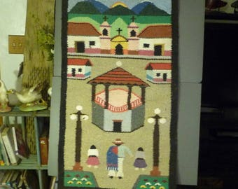 Woven Wall Rug Tapestry- Pavilion Town Center with Church Background- S.A.