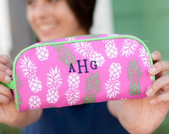 Personalized Pineapple Pouch  Great For Pencils, & Make Up  pineapple zippered pouch