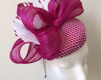 Stunning pink fascinator with white round netting and feathers!