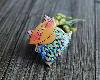 Dancing Cat Brooch Broach Pin For Cat Lovers Cat Jewellery Casual Jewellery Gift For Her Birthday Gift Idea Unique Gift  (0192