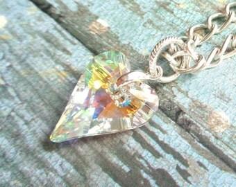 Wild Heart Pendant Necklace, Swarovski Aurora Borealis Wild Heart Pendant Necklace!