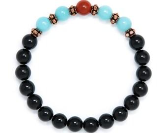 Black Tourmaline Bracelet, Mala Bracelet, Amazonite Mala Beads, Healing Bracelet, Yoga Jewelry, Buddhist Jewelry, Boho Jewelry