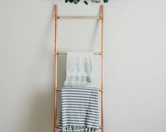 blanket ladder, industrial style copper and wood blanket ladder, copper home decor