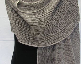 Handwoven shawl in hand dyed cotton and silk