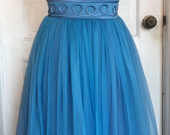 Vintage 1950's Blue Chiffon Party Dress With Built In Tulle Women's Extra Small 25-Inch Waist