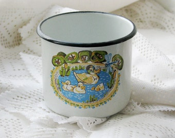 Rare Soviet Unused Vintage enamel mug cup with animal farmhouse ornament - Home decor - Made in USSR