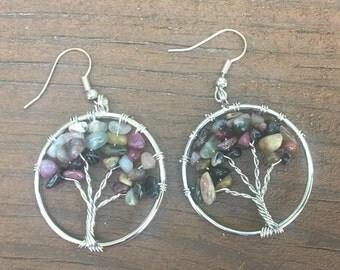 Multi-Tourmaline Tree of Life Earrings