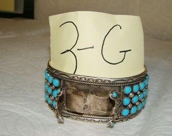 NA 3-G Sterling & Turquoise NA Watch Bracelet