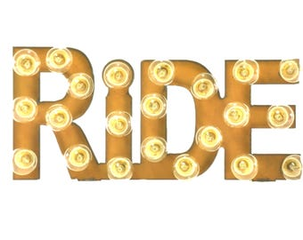 Ride Marquee Rusted Metal Vintage Inspired Lighted Sign