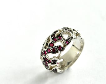 Fashion Silver Ruby Ring | Sterling Silver Fantasy Ring | Natural Ruby Silver Ring | Custom Woman's Ruby Ring