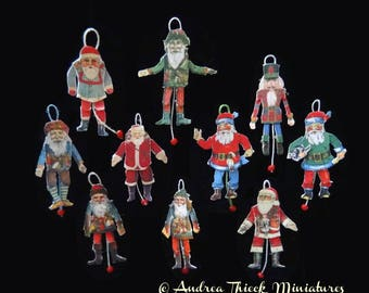 Miniature Santa Jumping Jack - 1/12 scale