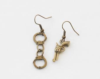 Police Earrings, Police Jewelry, Handcuffs Earrings, Gun Earrings, Gun Jewelry, Revolver Earrings, Sharpshooter earrings, Handgun Earrings
