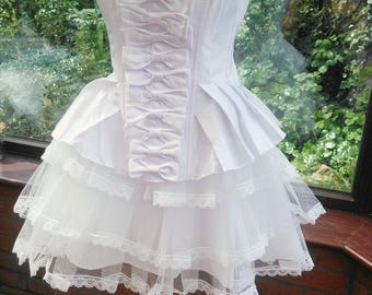 size uk-16 usa-12 corset halloween burlesque steampunk victorian style white bow trimmed corset all boned top with frilled tutu skirt
