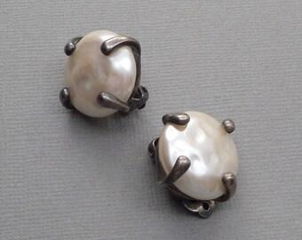 Vintage Modernist STERLING Pearl Earrings, Designer Signed Wedding Bridal Jewelry, Large Chunky Baroque Pearls, CAROLEE Carol Lee Earrings