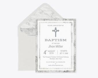 Marble Baptism Invitation Template, Christening,First Holy, Communion, Envelope Liner, Baptism Invitation Boy, Editable PDF, DIY You Print