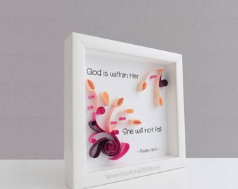 God is Within Her She Will Not Fall, Psalm 46:5, Nursery Bible Verse, Christian Scripture Wall Art, Framed Religious Quote, Bible Quote